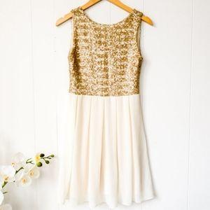 NWOT TFNC Babydoll Gold sequin dress